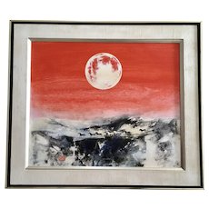 Horses Under Red Moon Sky Oil Painting Signed by Artist