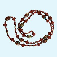 Asian Inspired Beaded Necklace with Red and Golden Blue Beads