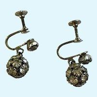 Rhinestone Faux Diamond Encrusted Screw-back Earrings