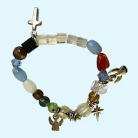 Angels and Crosses Bracelet with Glass and Millefiori Beads