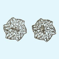 Sarah Coventry Earrings Clip-On Silver-Tone Filigree