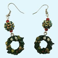 Christmas Fishhook Earrings with Wreath and Ball for Pierced Ears