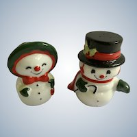 Christmas Snowman Couple Salt and Pepper Shakers Porcelain S&P Figurines
