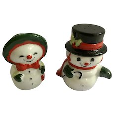 Christmas Snowman Couple Salt and Pepper Shakers Porcelain S&P Figurines