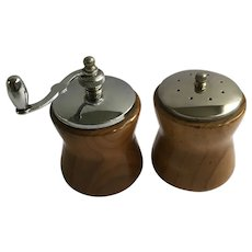 Vintage Pepper Mill and Salt Shaker Wooden Los Angeles California