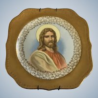 Homer Laughlin Plate Christ Jesus Religious Icon Eggshell Georgian 22K Gold U.S.A. M48N5