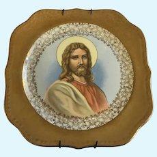 Homer Laughlin Plate Christ Jesus Religious Icon Eggshell Georgian 22K Gold U.S.A. M48N5