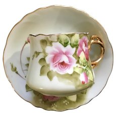 Heritage Green Lefton Flat Cup and Saucer Pink Roses Japan