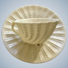 Neptune Yellow Belleek Shell Footed Cup & Saucer Set Discontinued 1955 - 1992 Ireland