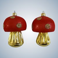 Vintage West Germany Christmas Mushroom Glass Glitter Ornaments