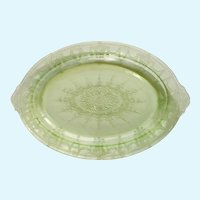 Depression Glass Lime Green Oval Serving Platter 11-3/4""