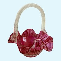 Fenton Cranberry Red Bridal Basket White Ribbon Trim Twisted Crystal Handle Glass