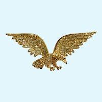 American Eagle Brooch Pin Gold-tone Aurora Borealis Rhinestone Encrusted Stamped 1996 Trifari