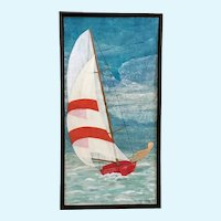Teuscher, Mixed Media Paper Collage Sailboat Painting Signed by Artist