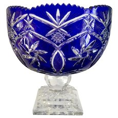 Cobalt Blue Crystal Punch Bowl Fruit Pedestal Vase Cut to Clear Centerpiece