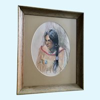 Marian Robertson, Native American Indian Maiden Pastel Drawing Signed by Artist