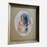 Marian Robertson, Native American Indian Maiden Pastel Drawing