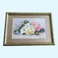Frank Greenwood, Yellow and Pink Roses Still Life Watercolor Painting Early 1900's Signed by Artist