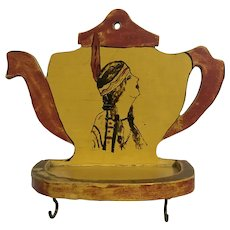 Vintage Teacup Holder Indian Maiden Hand Painted Wood Hook Shelf