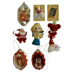 Mid-Century Christmas Ornaments Angels, Santa's, Bear Sleigh & Glitter Eggs Group