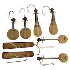 Christmas Wood Ornaments Erhu,Pipa, Mandolin, Zhongruan, Guzheng Stringed Chinese Instruments