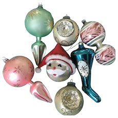 Vintage Christmas Ornaments Shoe Santa Bulbs Mercury Glass