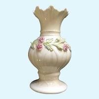 Belleek Ribbon Spill Vase Giftware Ireland Pottery Pink Roses