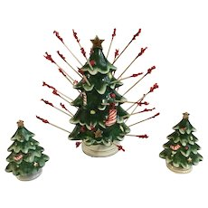 Lefton Christmas Trees Salt & Pepper & Hors d'oeuvres Holder Japan
