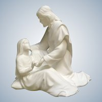 Lenox Jesus A Child's Comfort White Bisque Statuette Figurine with Wood Stand 1992