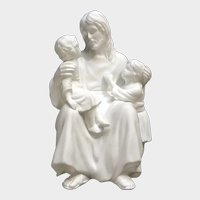 Lenox Jesus The Children's Blessing Bisque Statuette Figurine Wood Stand 1992