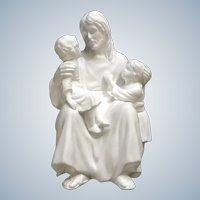Lenox Jesus A Child's Comfort Bisque Statuette Figurine Wood Stand 1992