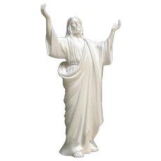 Lenox Jesus The Saviour Bisque Statuette Figurine Wood Stand 1991