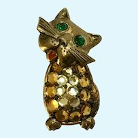 Vintage Kitty Cat Rhinestone Brooch Pin Western Germany