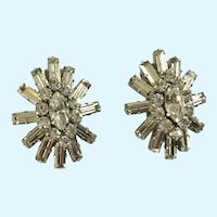 Stunning Austria Crystal Clip on Earrings Vintage