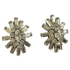 Stunning Austria Crystal Clip on Earrings Vintage