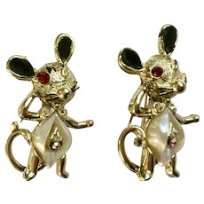Adorable Mice Vintage Rhinestone Gold-tone Pin Brooch Set