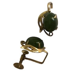 K4 Green Jade Screw Back Earrings