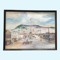 Ralph Raub, Primitive Folk Art Oil Painting Cripple Creek Colorado