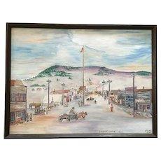 Ralph Raub, Primitive Folk Art Oil Painting Cripple Creek Colorado Signed by Artist