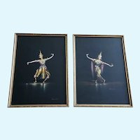 Vichitr, Thai Dancers, Gouache Watercolor Paintings Set, Vintage 1950's