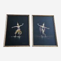Vichitr, Thai Dancers, Gouache Watercolor Paintings Set, Vintage 1950's