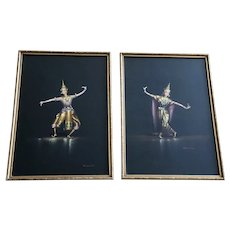 Vichitr, Thai Dancers, Gouache Watercolor Paintings Set, Vintage 1950's Signed by Artist