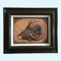 Troy Anderson, Bighorn Sheep Ram Leather Carving Relief Painting