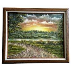 Richard Chwalek (1926-2008) Sunrise Landscape Oil Painting Signed by Colorado Artist