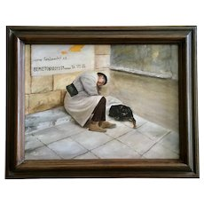Lady Sleeping on Curb with Dog Greek Weird Oil Painting