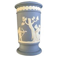 Wedgwood Cylindrical Apollo Vase Pale Blue Jasperware