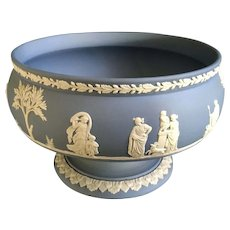 Wedgwood Pale Blue Jasperware Imperial Bowl Round Footed 8-1/4 Inch