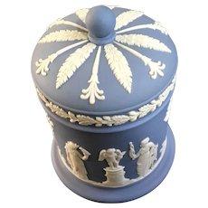 Wedgwood Pale Blue Jasperware Cigarette Jar with Lid