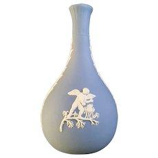 Wedgwood Pale Blue Jasperware Bud Vase With Cherubs
