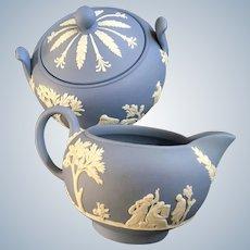 Wedgwood Pale Blue Jasperware Creamer & Sugar Bowl Set